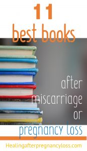 stack of colourful books with text: best books after miscarriage or pregnancy loss